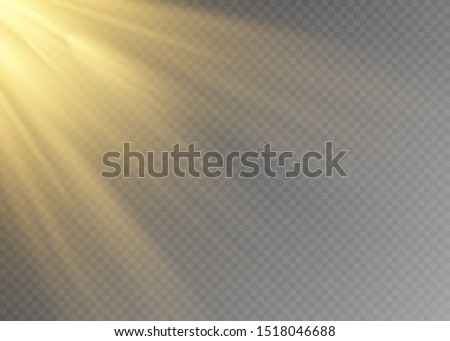 White glowing light explodes on a transparent background. Vector illustration of light decoration effect with ray. #1518046688