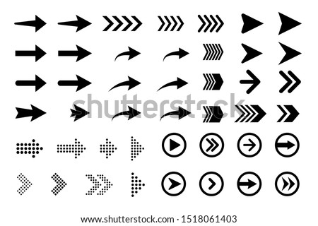 Set of new style black vector arrows isolated on white. Arrow vector icon. Arrows vector illustration collection #1518061403