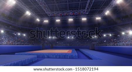Professional gymnastic gym. 3D illustration #1518072194