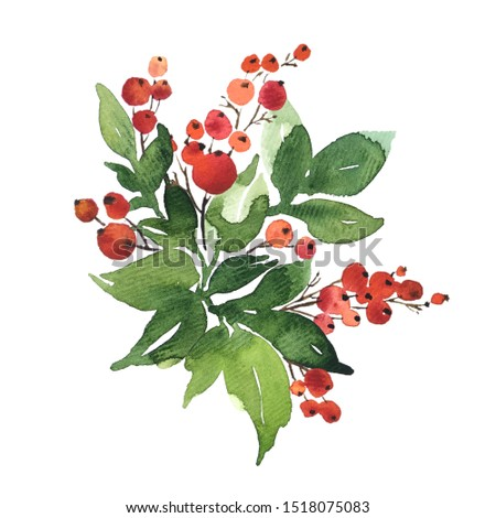 Christmas watercolor bouquet arranging with holly berries and green leaves, isolated on white #1518075083