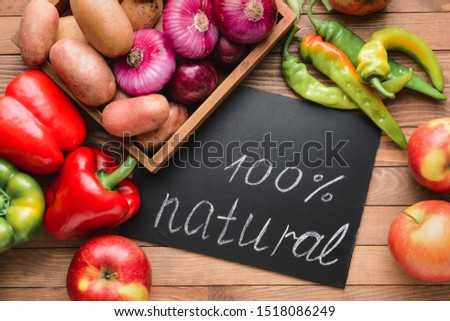 Many healthy vegetables for farmers' market on wooden background #1518086249