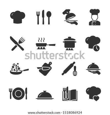 Vector set of cooking icons. Royalty-Free Stock Photo #1518086924