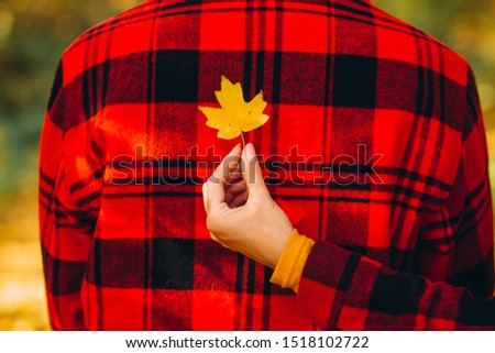 The guy and the girl are holding maple leaves in their hands. couple covers their faces with yellow maple leaves. Stylishly dressed guy and girl. The guy and the girl in red jackets in yellow forest. #1518102722