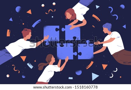 Teamwork and team building flat vector illustration. Coworkers assembling jigsaw puzzle cartoon characters. Coworking and business partnership concept. Businessmen and businesswomen cooperation. Royalty-Free Stock Photo #1518160778