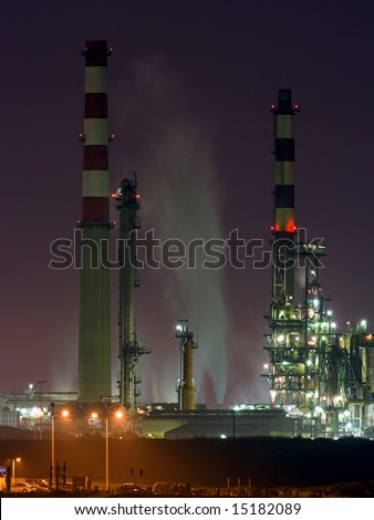 Part of big refinery; night view #15182089