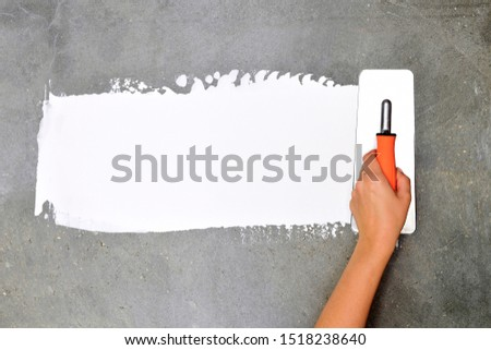 professional, white, worker, plaster, equipment, adhesive, crack, brush, spatula, person, building, scaffolding, instrument, paint, contractor, isolated, hold, work, background, painter, wall, site, c #1518238640