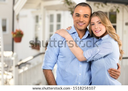 Portrait of happy couple isolated on white background. Attractive man and woman being playful. #1518258107