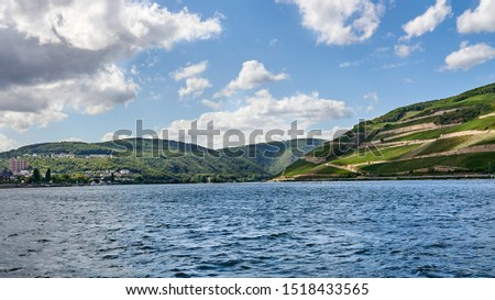 Scenic panorama of the World Heritage zone of the middle Rhine River between Bingen and Rudesheim, with vineyard filled river banks and blue skies.  No people.  No boats.                          #1518433565