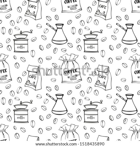 Coffee beans, mills, pots and coffee bags seamless pattern. Canvas and paper bags with coffee beans. Traditional coffe package. Hand drawn style. Line art sketh