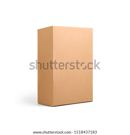 Blank brown cardboard paper box isolated on white background. Packaging template mockup collection. Stand-up Half Side view package #1518437183