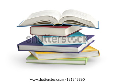stack of books isolated on white background Royalty-Free Stock Photo #151845860
