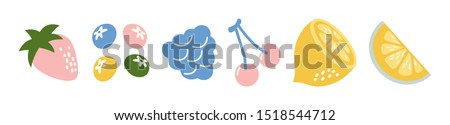 Strawberries oranges cherries blueberries on a white background. Bright summer fruit illustration. Fruit Mix design for fabric and decor. Collection of fruits. Set of colorful cartoon fruit icons #1518544712