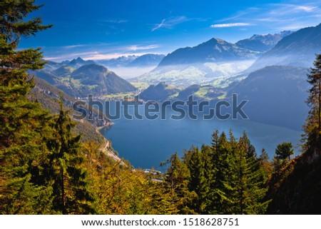 Lake Luzern and Alps mountain peaks aerial view from Mount Pilatus, alpine landscape of Switzerland #1518628751