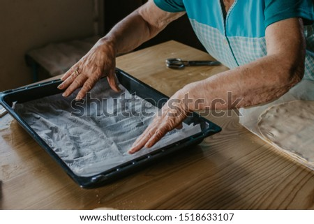 woman hand preparing tray for desserts or baked food #1518633107