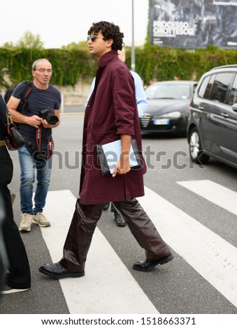 September 18, 2019: Milan, Italy - Street style outfit during Milan Fashion Week - MFWSS20 #1518663371