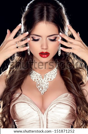 Beautiful Bride. Fashion Beautiful Girl Model with Jewelry isolated on black background. Jewelry. Makeup. Hairstyle. #151871252