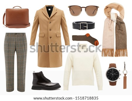 mood board fashion clothes, outfit, clothes collage, set of fashionable clothes and accesories, man trendy fashion clothes collage on white #1518718835