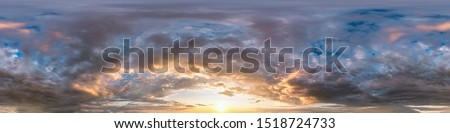 Seamless cloudy blue sky hdri panorama 360 degrees angle view with zenith and beautiful clouds for use in 3d graphics or game development as sky dome or edit drone shot #1518724733