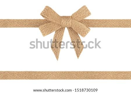Burlap jute ribbon bow isolated on white background #1518730109