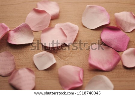 "rose petals made of papaer  on wood background  (""Les fleurs sont belles"" is ""Flowers are beautiful""in French"" ) #1518740045"