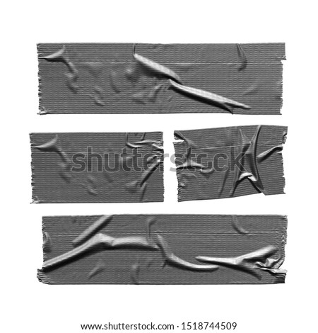 Duct tape pieces isolated on white background. Torn wrinkled silver grey adhesive tape set #1518744509