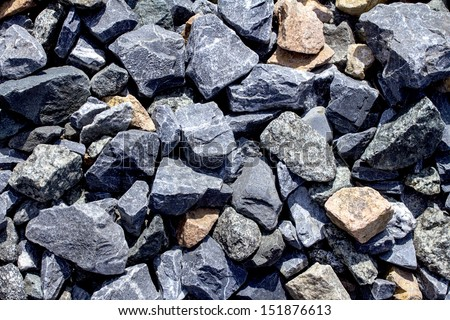 Rail road track ballast stone gravel close-up as background #151876613
