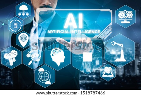 AI Learning and Artificial Intelligence Concept - Icon Graphic Interface showing computer, machine thinking and AI Artificial Intelligence of Digital Robotic Devices. #1518787466