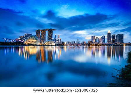 Singapore city skyline at dusk Royalty-Free Stock Photo #1518807326