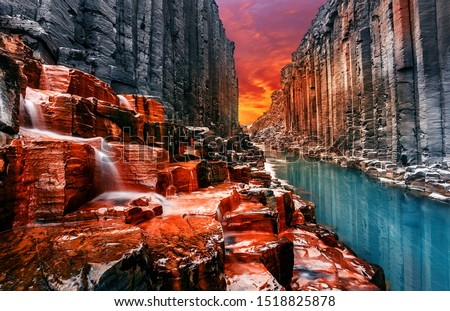 Breathtaking view on tipical nature landscape of Iceland. Studlagil canyon, Iceland. One of the most wonderfull nature sightseeing in Iceland. Iconic location for landscape photographers and bloggers #1518825878