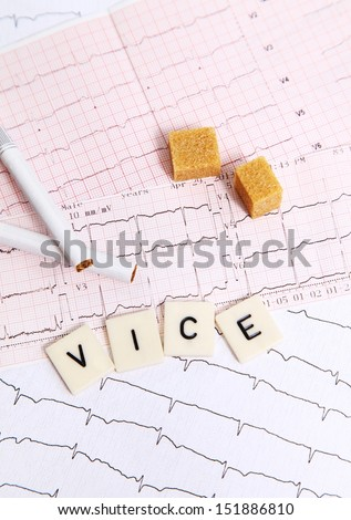 Several letters put on an electrocardiogram for an alarm message #151886810