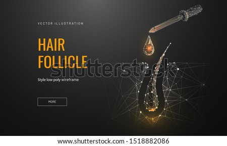Hair roots treatment low poly landing page template. 3d pipette with drop near follicle polygonal illustration. Head skin nourishing oils promo banner. Professional hair care services homepage design #1518882086