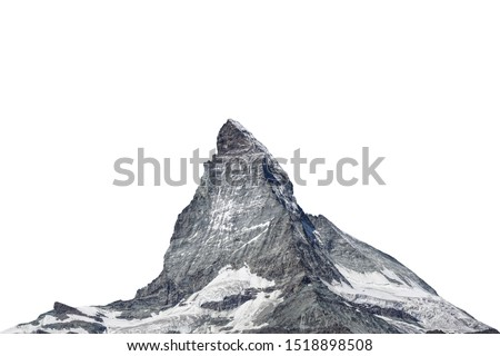 The Matterhorn ( Italian: Cervino, French: Cervin) is a mountain of the Alps located in the border between Switzerland and Italy. Isolated on white background #1518898508