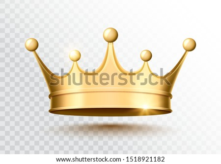 Golden crown on a transparent background. Vector illustration.