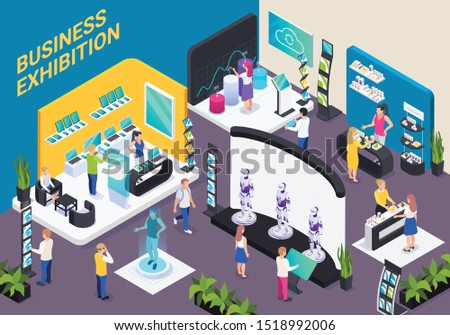 Modern business innovative technology exhibition hall isometric composition with electronic devices robots promotion stands visitors vector illustration  Royalty-Free Stock Photo #1518992006