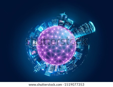 Smart network and Connection technology concept, Tiny planet of Hong Kong digital city background at night in victoria harbour, Cyberpunk color style, Panorama view #1519077353