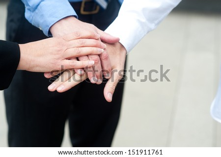 Business group with hands together - teamwork concepts #151911761
