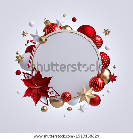 3d Christmas round wreath with red poinsettia flower isolated on white background. Blank frame, golden xmas ornaments, glass balls, stars and candy cane. Festive clip art