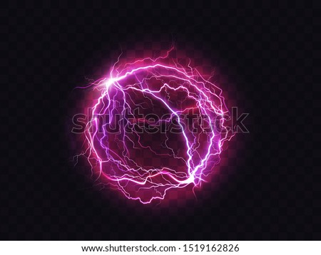 Electric ball, lightning circle strike impact place, plasma sphere in purple color isolated on dark background. Powerful electrical discharge, magical energy flash. Realistic 3d vector illustration Royalty-Free Stock Photo #1519162826