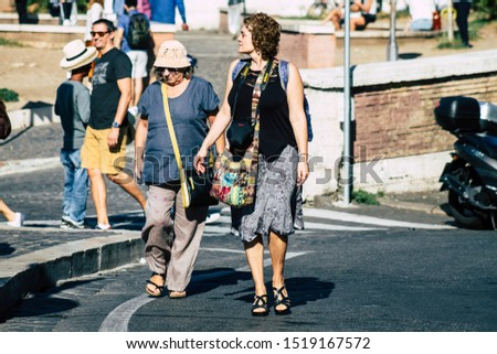 Rome Italy September 29, 2019 View of unknowns tourist visiting the Coliseum also known as the Flavian Amphitheatre in the centre of the city of Rome #1519167572
