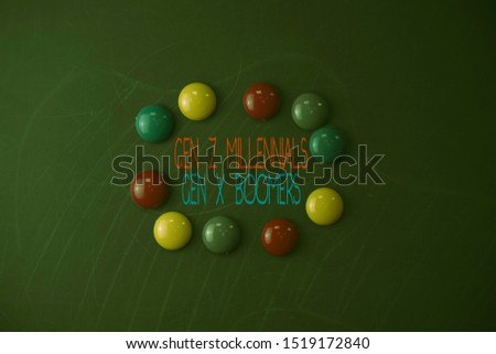 Conceptual hand writing showing Gen Z Millennials Gen X Boomers. Business photo showcasing Generational differences Old Young showing Round Flat shape stones with same sizes stick black board. #1519172840