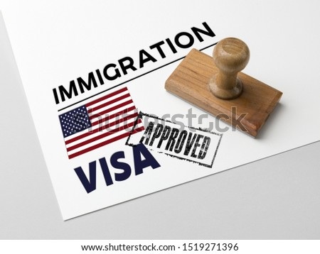 Approved Immigration United States  with rubber stamp and american flag #1519271396
