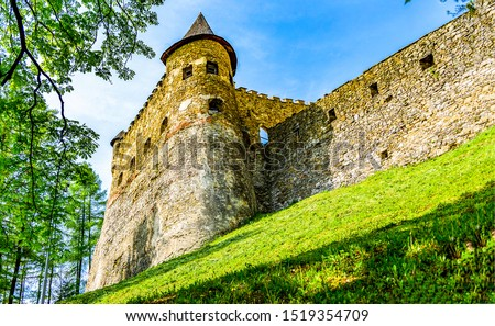Ancient fortress tower wall view. Medieval fortress tower view. Medieval fortress wall view. Medieval fortress tower wall scene #1519354709
