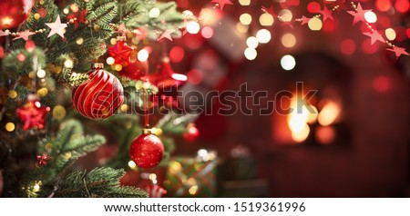 Christmas Tree with Red Balls and Stars. Winter Holiday Background #1519361996