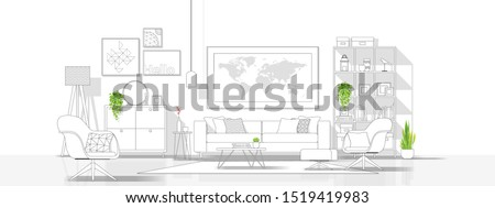 Interior design with modern living room in black line sketch on white background , vector , illustration #1519419983