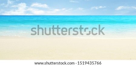 Empty sand beach in front of the summer sea #1519435766