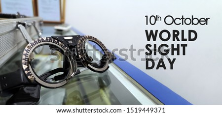 optometrist trial frame for World Sight Day on 10th October. Copy Space Concept. Selective Focus Royalty-Free Stock Photo #1519449371