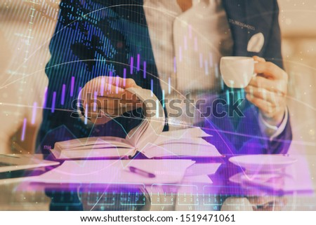 Double exposure of businessman with coffee with stock market forex chart. #1519471061