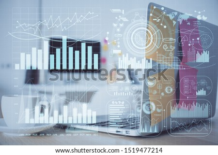 Financial market graph hologram and personal computer on background. Double exposure. Concept of forex. #1519477214