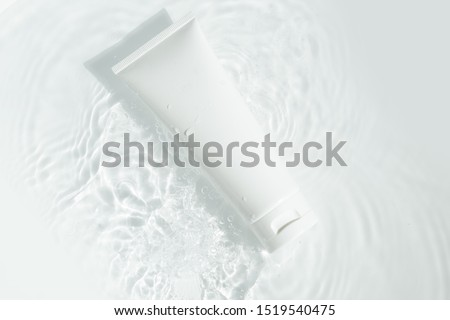 beauty spa medical skincare and cosmetic lotion bottle cream packaging product on white decor background with summer water pool fresh concept, medicine serum for anti-aging collagen facial, cleansing Royalty-Free Stock Photo #1519540475