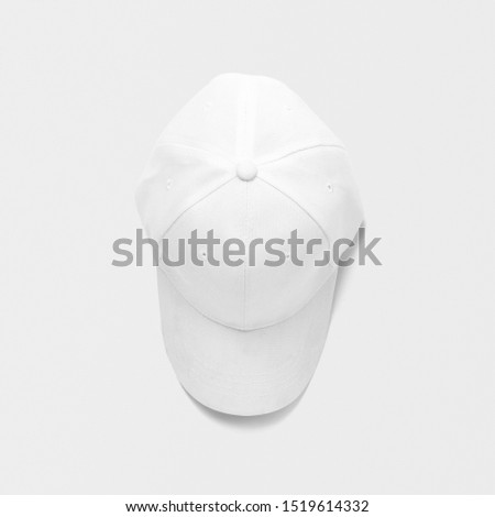 Top view of white plain baseball cap on isolated background. #1519614332